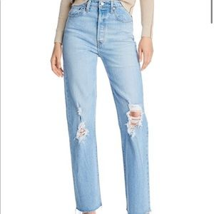 Levi's Ribcage Ripped Straight-Leg Jeans